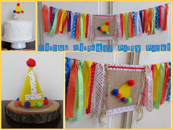 Circus 1st birthday party pack carnival first birthday for 1st birthday decoration packs