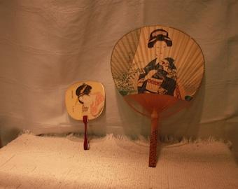 2 Vintage Japanese Fans