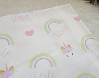 Personalized rainbow swaddle blanket: baby and toddler personalized name newborn hospital gift baby shower gift