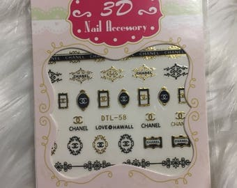3D Nail Accessory 1 Sheet Chanel Gold