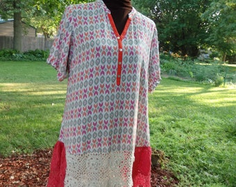 Plus Size tunic, Crochet Dress, Funky Shirt Dress, Patchwork Dress, Eco Dress,Artsy Dress, 2 XL