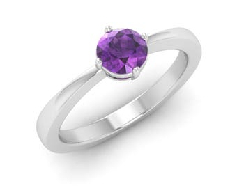 Natural Amethyst Solitaire Engagement Ring 14K White Gold | Round Cut Amethyst Engagement Ring | Solitaire 14K Gold Amethyst Certified