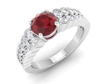 Ruby Ring   Ruby Engagement Ring With Diamond   Ruby 14K Gold   Gift For Women   Diamond Engagement Ring   Anniversary Gift   AAA Ruby Ring