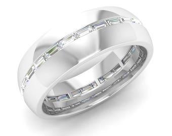 Mens Ring | Mens Wedding Band Ring | Mens Engagement Ring | Mens Diamond Ring White Gold | Full Eternity Band Ring | Mens 6MM Wedding Ring