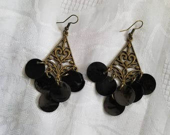 Black and Blue antique brass chandelier earrings with mussel shells