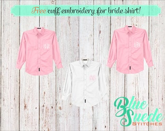 Monogrammed Bridal Shirts - Bridesmaid oxford shirts | monogrammed oxford shirts | getting ready shirts | bridal party gifts