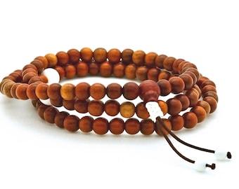 Simbucao Wood & Shell Mala, Tibetan style mala, 108 bead mala
