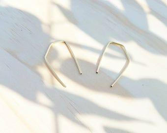 Geometric Gold Plated Threader Earrings Hand Shaped Minimalist Jewelry Minimal Earrings Modern Staple Pin Earrings