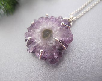 Crystal Necklace, Amethyst Silver necklace, February Birthstone Necklace, Amethyst crystal pendant, Raw amethyst necklace, Amethyst jewelry
