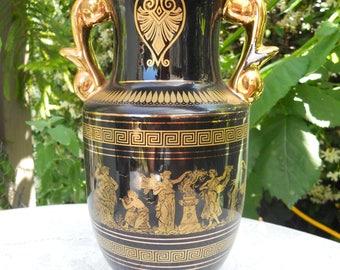 "Vintage Greek Vase E.M. 24K 10"" Tall, Urn Style Vase"