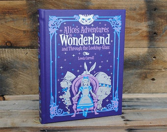 Book Safe - Alice's Adventures in Wonderland - Purple Leather Bound Hollow Book Safe