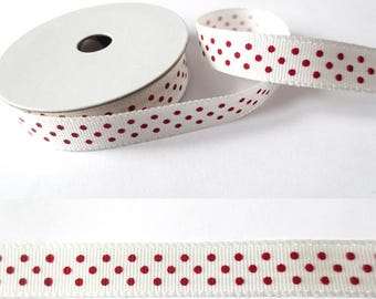 2 m x fancy 10mm red/white dots grosgrain Ribbon
