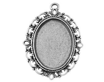5 x supports oval cabochon (25x18mm) pendant silver antique