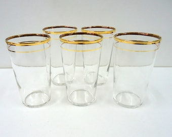 Mid-Century Federal Glass, Drinking Glasses, Set of 5,Gold Rim