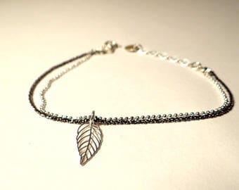 Bracelet black silver leaf bi