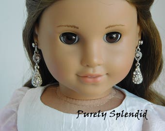Dramatic Sparkle Earring Dangles for 18 inch Girl Dolls, American Made glamour silver holiday accessory, glittery fancy evening out earrings
