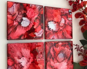 Cherry 4x4 Ceramic Tile Coasters