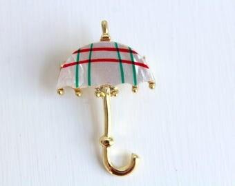 Umbrella Pin, Umbrella Brooch, Umbrella Jewelry, Striped Umbrella Pin, Striped Umbrella Brooch, White Umbrella Pin, White Umbrella Brooch