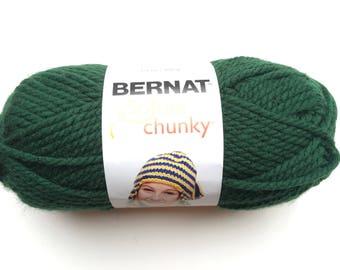 Acrylic yarn super bulky, dark green Acrylic, Bernat yarn, softee chunky, yarn for knitting, crochet supplies, knitting supplies, craft supp