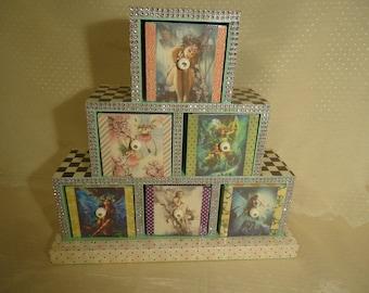 Fairy 6 Drawer Wooden Jewelry, Keepsake, Trinket Box