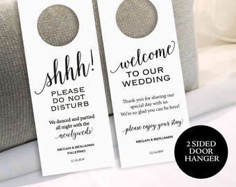 Wedding Door Hanger, Please Do Not Disturb Door Hanger, Door Hanger Printable, Welcome, Wedding Printable, PDF Instant Download, MM01-1