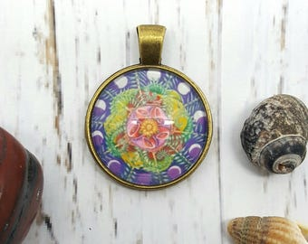 Spring Time pendant, beautiful moon phases mandala art in pendant form, for truly wearable art. Moon light image with you where ever you go.
