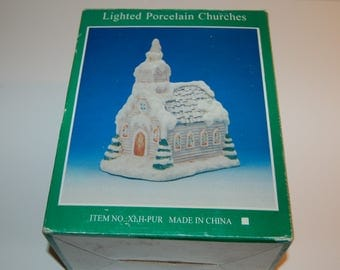 CHRISTMAS Village Scene LIGHTED PORCELAIN Church with Box