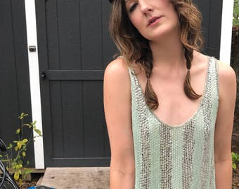 Silver Mint Green Sequined Top