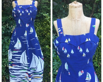 Vintage Smocked Sailboat Sundress