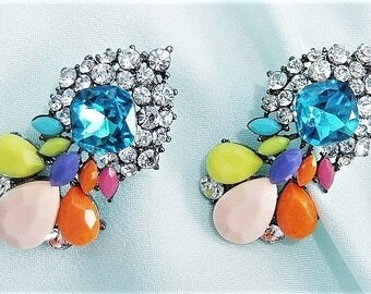Statement earrings of colorful earrings rhinestone opulent