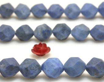 47 Pcs  Natural Unset Dumortierites faceted and matte nugget  beads in 8mm (06972#)