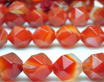 38 Pcs of Natural Red Banded Agate Faceted Star nugget beads in 10mm