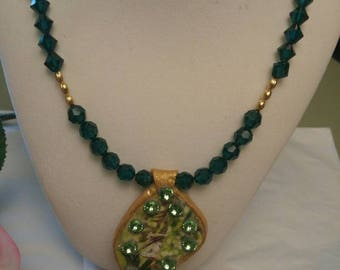 Swarvoski Emerald Beaded Necklace w/Jade and Swarvoski Pendant By Shawzae