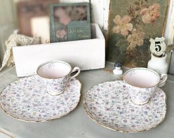 A beautiful Pink Tuscan chintz tennis set cup and saucer