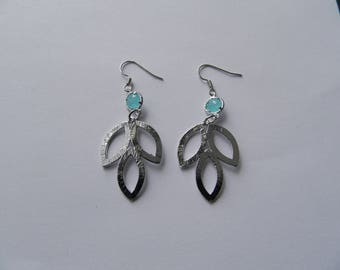 Triple silver plated leaf and turquoise glass earrings