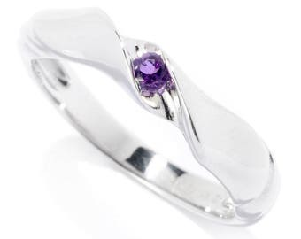 Sterling Silver 2.5mm Round 0.06ctw African Amethyst Stack Band Ring SZ 6,7
