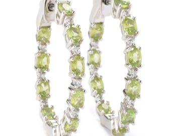 """Sterling Silver 3.78ctw Peridot & White Zircon Hoop Earrings 1.25""""L"""