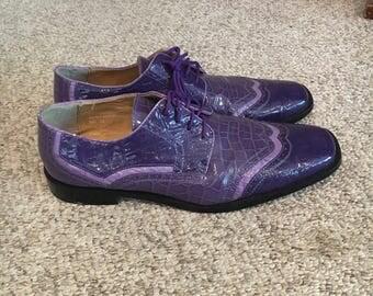 Vintage 1980's Roberto Chillini PURPLE Faux Leather Loafer Rockabilly Shoes size 13/Gangster/Pimp Shoes/