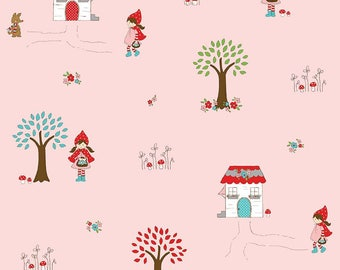 Little Red Riding Hood By Tasha Noel FLANNEL for Riley Blake Main Pink FLANNEL