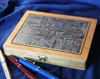 Fountain Pen Collection Storage Case, Re-purposed Wooden Cigar Box, Holds 10 pens (Box No. 303)
