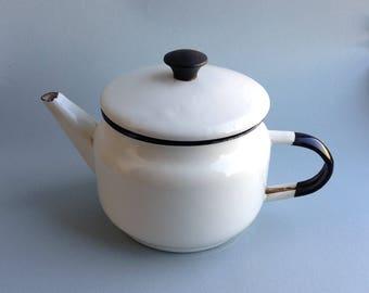 Soviet vintage enamel teapot Retro cottage Coffee pot Old Soviet tea pot Milk pot Authentic vintage Farmhouse Soviet kettle Coffee kettle