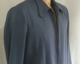Blue grey wool gabardine Hollywood jacket hepcat size M