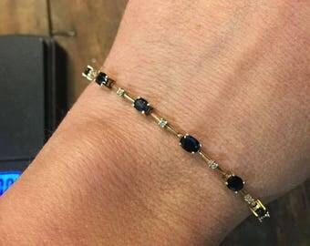 Sapphire & Diamond Bracelet 14k Yellow Gold
