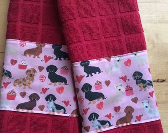 Dachshund kitchen towels, dog kitchen towels, holiday towels, Valentine Day towels