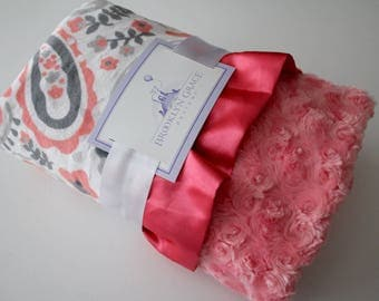 Paisley Blanket in Coral, Gray, Charcoal and White with Coral Rose Swirl Minky Back and Soft Satin Coral Trim - Baby Shower, Crib Bedding