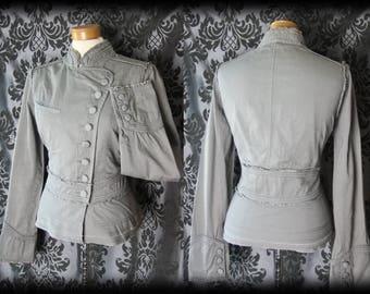 Goth Grey Cotton Button Detail MILITARY High Neck Jacket 12 14 Victorian Vintage
