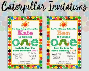 Hungry Caterpillar First Birthday Party Invitations | Custom Invites | Printable | 1st Birthday Party | Boy or Girl Design