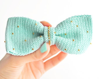 Mint and golden crochet bow hair clip. Hair accessory. Hipster accessory