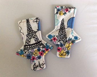 Set of 2 thong Paris in the spring    on flannel  panty liner