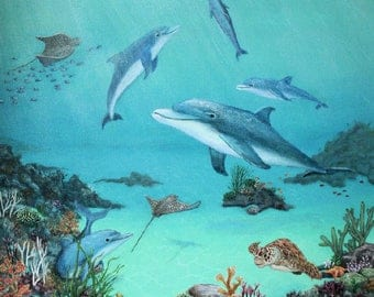 Coral Reef Dolphins and Sea Life 24x20 Inch Wrapped Canvas Acrylic Painting
